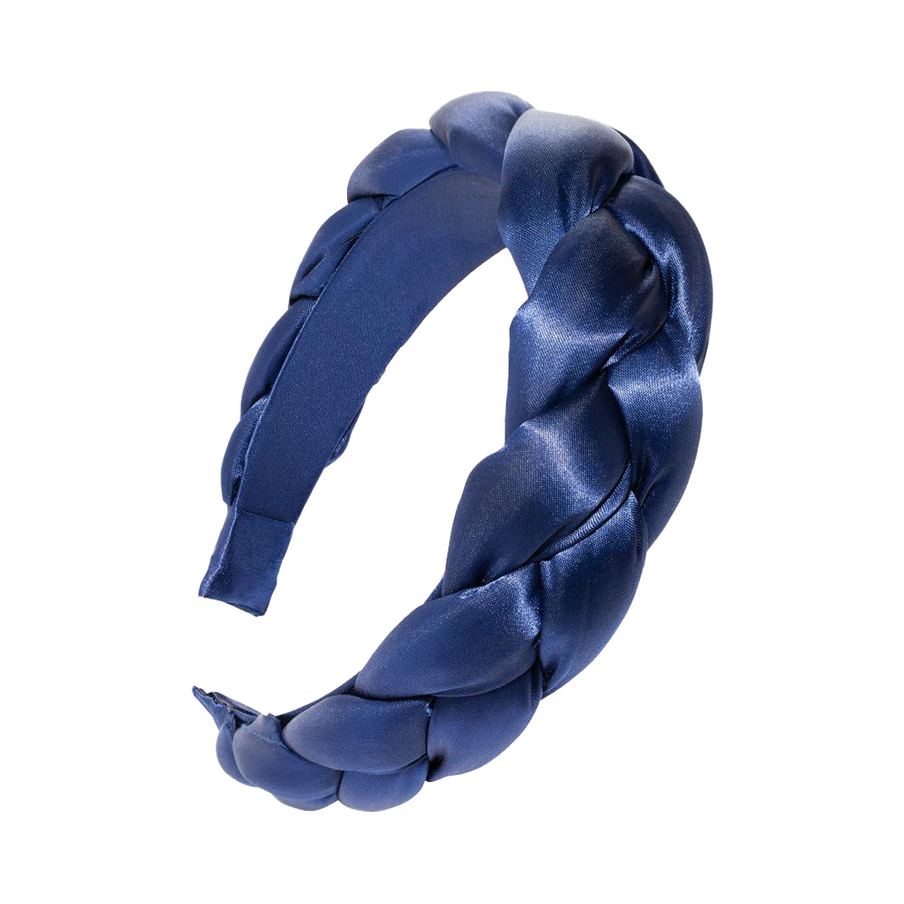 L. ERICKSON 緞面編織厚髪箍〈海軍藍〉