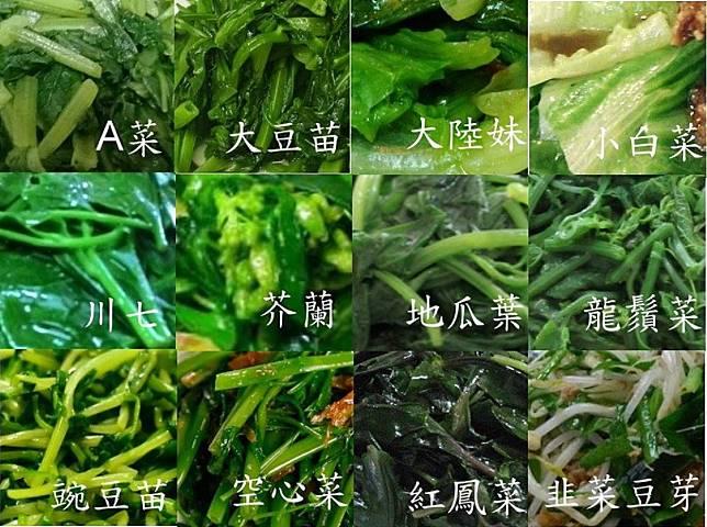 ▲網友列出多種常見的燙青菜。(圖/翻攝爆廢公社)