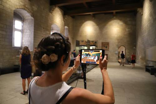 Illustration of using augmented reality technology in a museum.