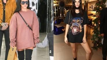 女孩的街頭性感穿搭新趨勢 :一件式長上衣搭配靴子!