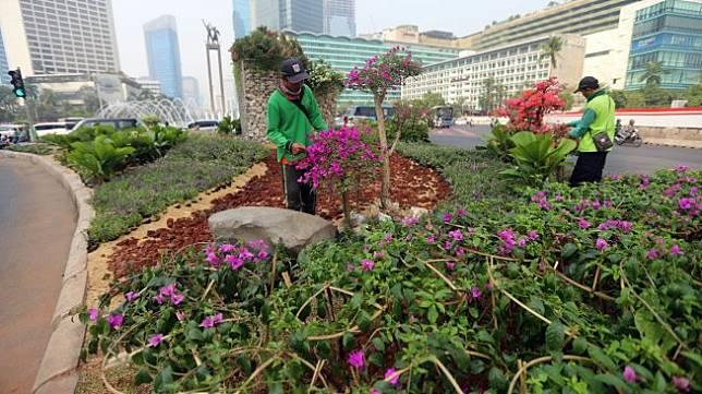 Petugas Dinas Kehutanan DKI Jakarta melakukan perawatan pada tanaman bougenville di kawasan Bundaran HI, Jakarta, Rabu (21/8). [Suara.com/Arya Manggala]