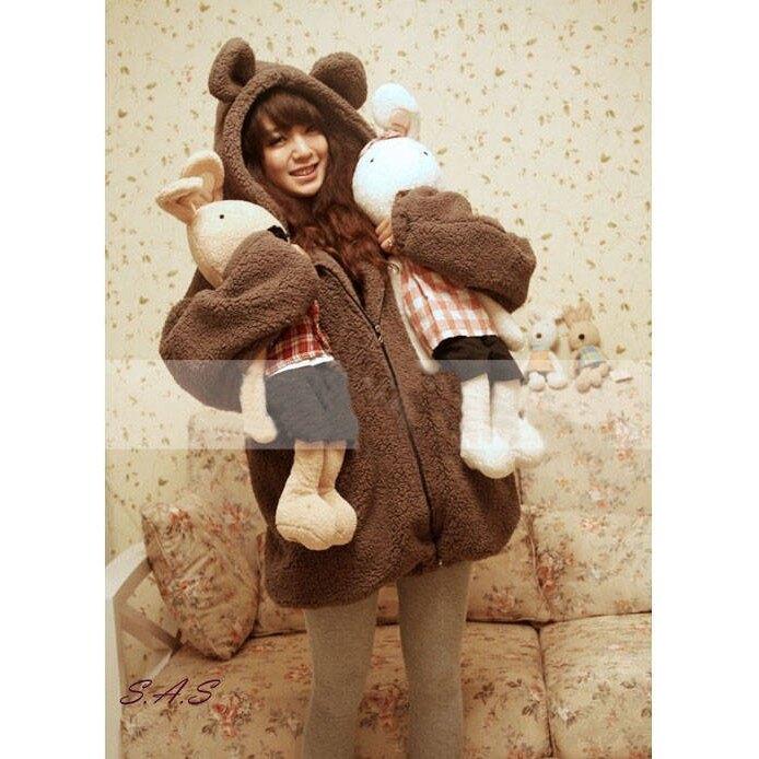 韓版萌萌泰迪熊外套 小熊小兔子耳朵尾巴卡通造型毛絨外套 絨毛外套 連帽外套 泰迪熊毛外套 泰迪熊外套
