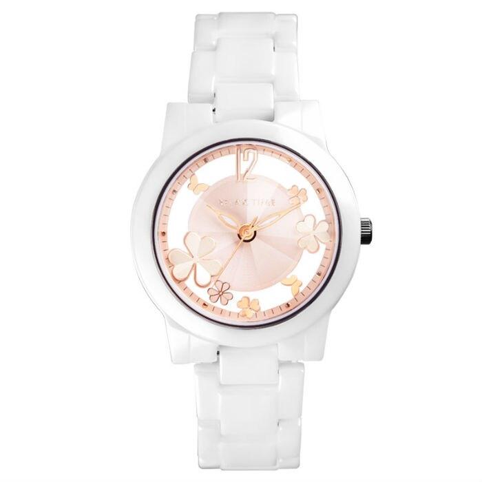 RELAX TIME Garden系列 【加碼送手環】鏤空陶瓷腕錶 (RT-80-3) 白x粉紅 38.6mm