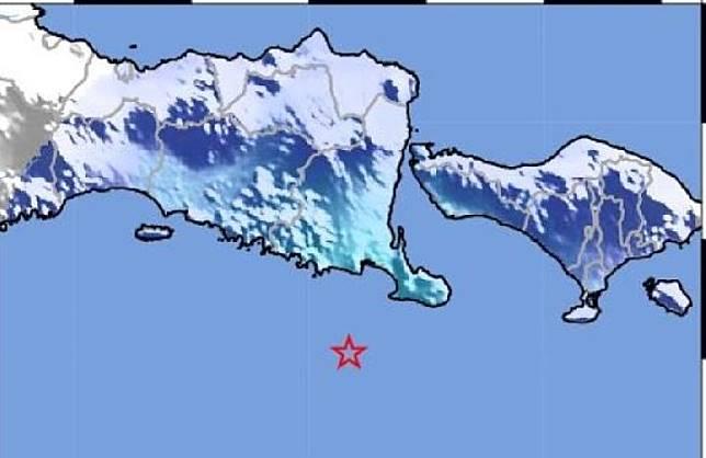 Gempa Laut Selatan dengan magnitudo 4,6 mengguncang Jawa Timur, Bali, Lombok. Kredit: BMKG