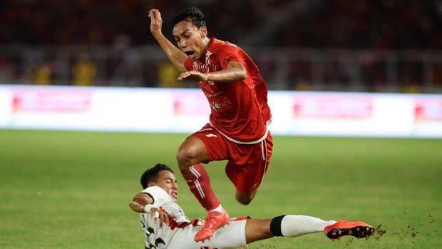 Novri Setiawan mencetak gol ketiga Persija ke gawang Bali United dalam laga final Piala Presiden 2018. (ANTARA FOTO/Akbar Nugroho Gumay)