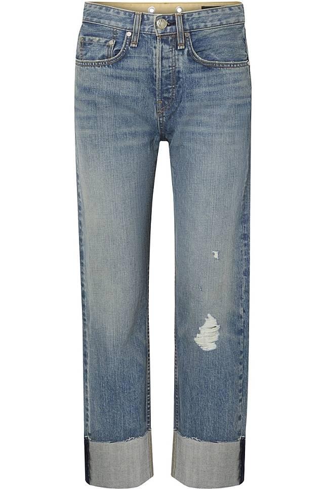 RAG & BONE洗水藍色高腰直腳牛仔褲(互聯網)