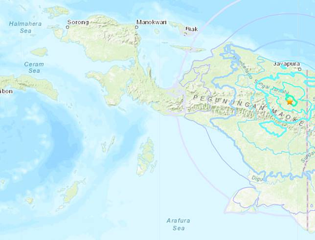 A screen capture of a map from the USGS website shows a yellow star indicating the location of a 6.1-magnitude earthquake in Papua province on Dec. 16.
