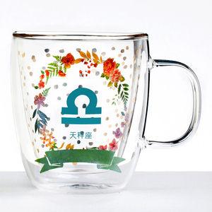 【Royal Duke】雙層玻璃咖啡杯/馬克杯/花茶杯-天秤座(星座杯