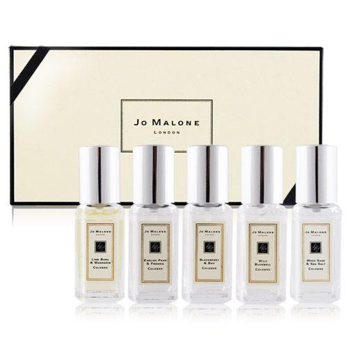 Jo Malone香水禮盒-青檸羅勒+小蒼蘭+黑莓+藍風鈴+鼠尾草9mlX5