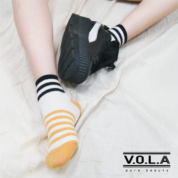 [VOLA]台灣製 短襪 船襪 兩色條紋設計 棉質舒適 韓風襪 滿499元送涼感船襪]