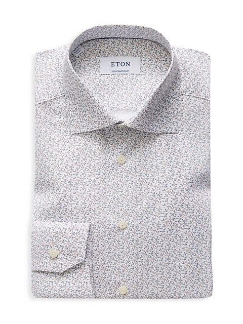 Allover floral print updates this crease-resistant cotton dress shirt with convertible button cuffs.