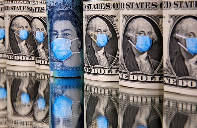 George Washington and Queen Elizabeth II are seen with printed medical masks on the one Dollar and Pound banknotes in this illustration taken, March 31, 2020.