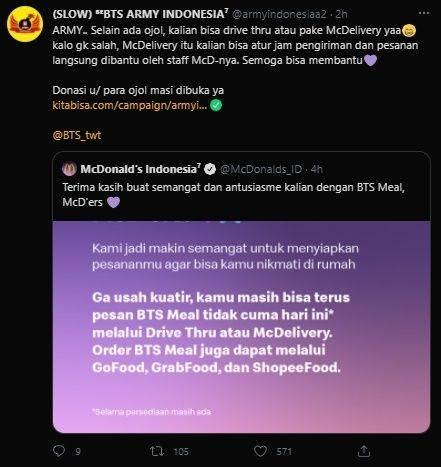 Donasi Army Indonesia Untuk Ojol BTS Meal Tembus Rp60 Juta. (kitabisa.com/campaign/armyindoberbagi)