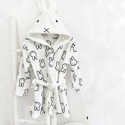 Baby unicorn 白色米菲兔法蘭絨連帽浴袍