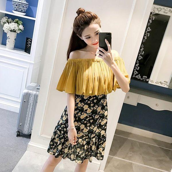 FINDSENSE G5 韓國時尚 夏季 一字領 露肩 碎花 荷葉邊 連身裙