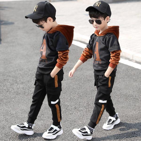 童裝男童秋冬裝套裝免運新款兒童加絨韓版衛衣金絲絨運動冬季潮衣