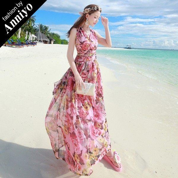 Anniyo安妞‧性感露背掛脖綁帶系帶雪紡碎花波希米亞海邊度假沙灘裙連衣裙長裙長洋裝 粉色大花