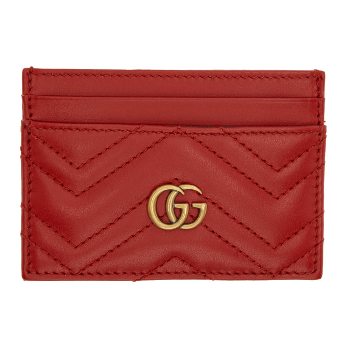 Gucci 红色 GG Marmont 卡包
