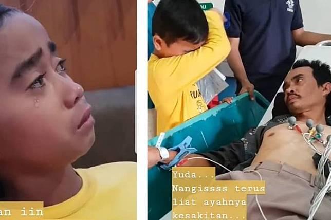 Yuda (12) menangisi sang ayah yang sedang sakit