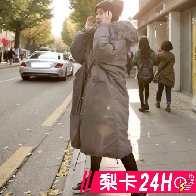 【現貨24H】梨卡 - 情侶可穿韓版超長版抽繩超大毛領軍裝外套大衣-奢華貉子毛領連帽加長版風衣A982