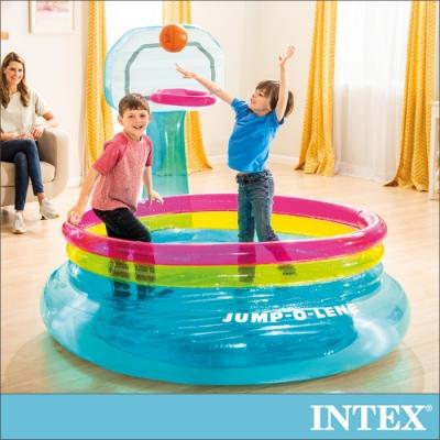 INTEX美國知名大廠 藍球框設計,增加遊戲的樂趣 底部充氣墊設計保護寶貝不撞傷 充氣式跳跳床室內、戶外皆可