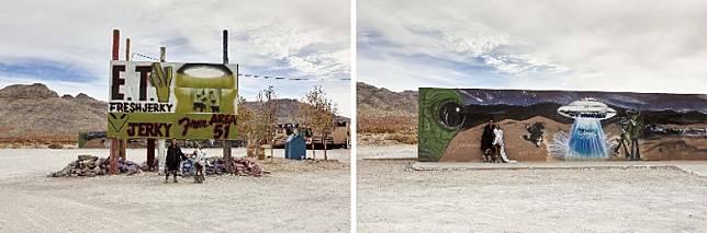 Rick Owens及其妻子Michele Lamy走訪被外星迷視為「聖地」的AREA 51區拍攝造型照。(互聯網)