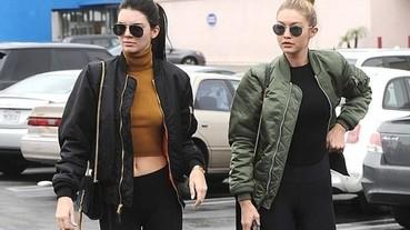 女生穿飛行夾克如何性感?兩大年輕超模 Kendall Jenner、Gigi Hadid 示範給你看!