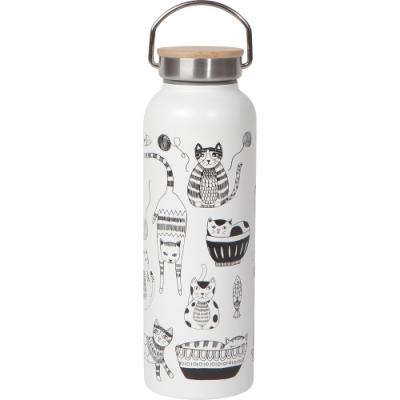 手搖飲料環保水杯 雙層杯壁保溫保冷 健身運動登山配件 黑白貓咪文藝童趣 保冰24保溫12小時