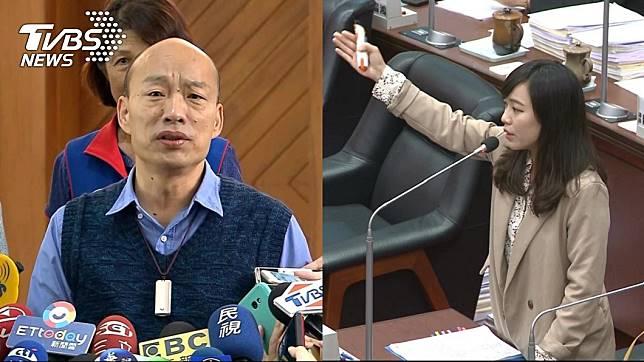 高雄市長韓國瑜(左)、時代力量高雄市議員黃捷(右)_圖/TVBS