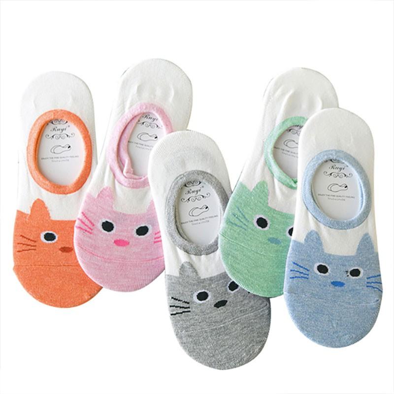 ✨ 超可愛小貓圖案 純棉舒適 五色任選 造型隱形船型襪 ♥♥ 均碼:女生都可穿哦 特色 : 防滑矽膠設計,穿一整天都不易脫落哦 顏色 : 橘、灰、藍、粉、綠 材質 : 棉65% 收到襪子後,給評價時只