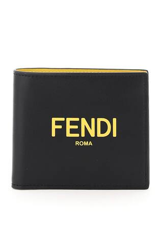 Fendi leather wallet featuring contrasting Fendi Roma print on the front. Contrasting leather interior with two bill compartments, two ticket compartments, eight credit card slots and embossed logo.