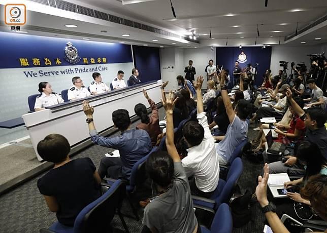 警方今午舉行記者會。(袁志豪攝)