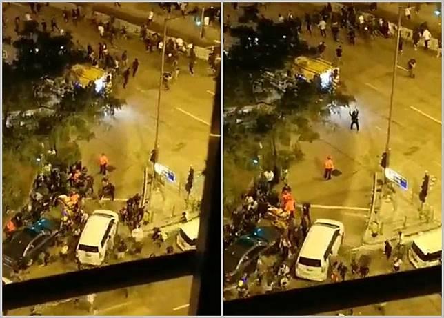 凌晨3時50分有警員在廣東道開2槍,示威者四散。(互聯網)