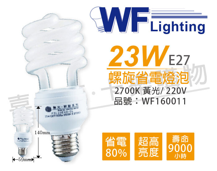 【產品特色】 • 可安裝於傳統白熾燈泡之E27燈座上 • 省電80%,亮度高 • 點燈壽命長,經濟實惠