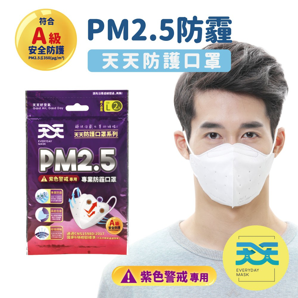 【優惠訊息】 【商品特色】#防霾 #防空汙 #防PM2.5 #PM2.5口罩#A級安全防護#全台唯一通過A級【詳細規格】 規格:每包2入 1包販售保存期限:5年品名:PM2.5專業防霾口罩(A級)適用