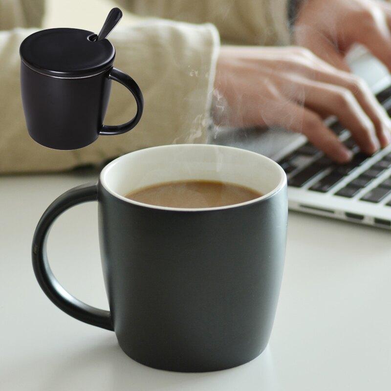 沉穩黑16+瓷蓋+鋼勺陶瓷杯子 創意馬克杯帶勺 咖啡牛奶杯水杯 大號辦公杯 定制LOGO。人氣店家貓貓愛買城的2020JYJ厨房/餐饮用具、廚房/餐飲用具2有最棒的商品。快到日本NO.1的Rakute