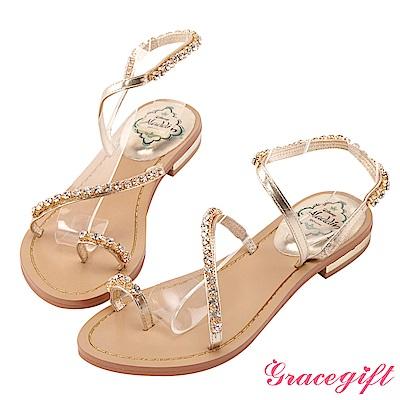 Disney collection by gracegift茉莉鑽飾斜帶平底涼鞋 金