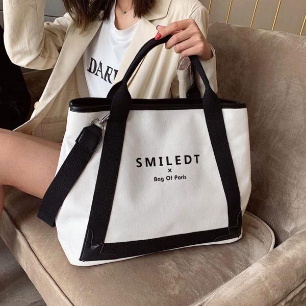 托特包夏季大容量包包女新款潮時尚斜背包簡約帆布側背包手提托特包 coco衣巷