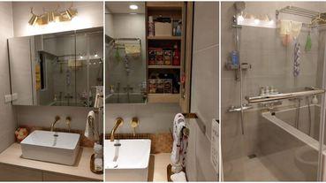 1坪多小浴室乾濕分離可泡澡,還塞進3個貓砂盆,收納及空間使用淋漓盡致