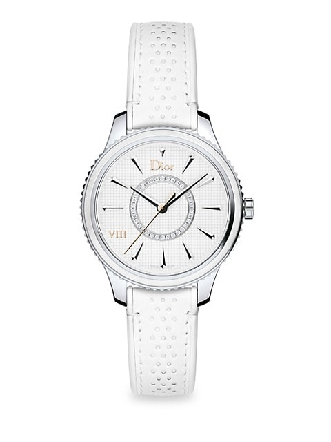 From the Dior VIII Montaigne Collection; Quartz movement; Mother of pearl dial; Polished bezel; Wate