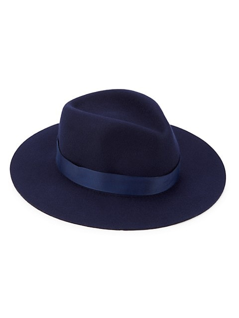 Designed with a contrasting ribbon, this fedora makes a refined statement.; Wool; Trim: Grosgrain ri