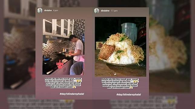 Meme kocak Dinda Hauw dan Rey Mbayang masak mi instan. (twitter @subtanyarl & @erlanggakasim2)