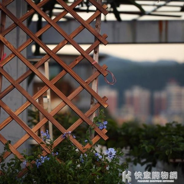 戶外小柵欄陽臺裝飾伸縮籬笆防腐木花園藤蔓植物牽引花圍欄爬藤架