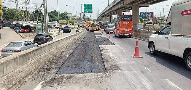 ทางหลวง ซ่อมผิวทาง ทางลงสะพานข้ามทางรถไฟ ทล.308 กม.5+400