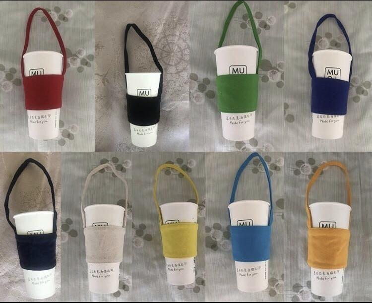 手作單 純色文青風帆布環保飲料杯袋(4色)