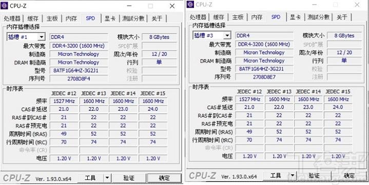 利用 CPU-Z 來檢視 AORUS 15G 的核心規格,處理器為 Intel Core i7-10875H,製程為 14 奈米,採 8 核心 16 執行緒架構;記憶體為兩條 8GB DDR4 3200(1600MHz)。
