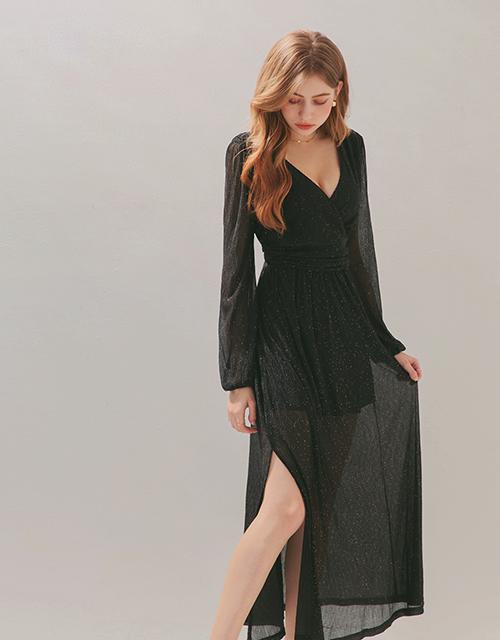 光澤壓紋開衩長洋裝