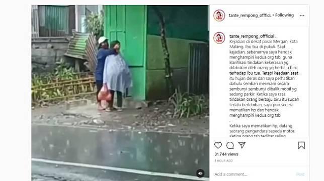 Ibu-ibu dianiaya saat berteduh. (Instagram/tante_rempong_offficial)