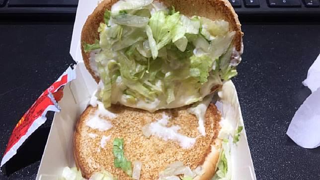 他PO文說漢堡出現問題,卻遭網友狠打臉。圖/TVBS