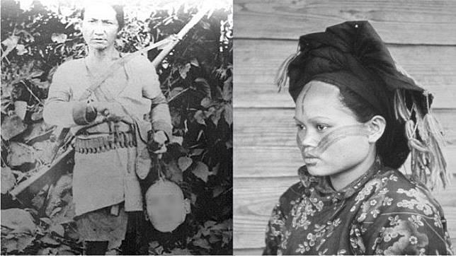 Suku Atayal membawa kepala manusia.